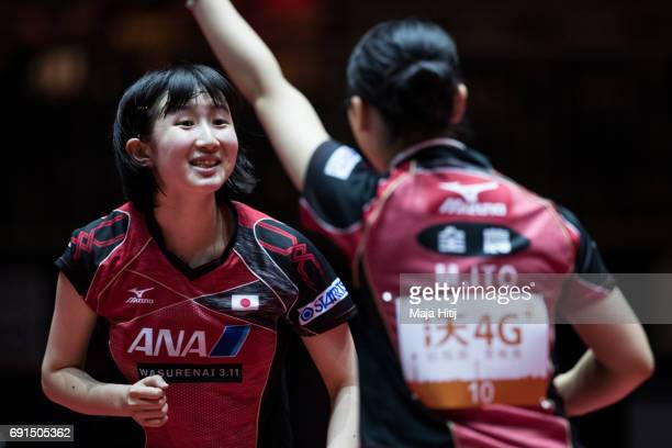 Hina Hayata of Japan and Mima Ito of Japan celebrate during Women's Doubles at Table Tennis World Championship at Messe Duesseldorf on June 2 2017 in...