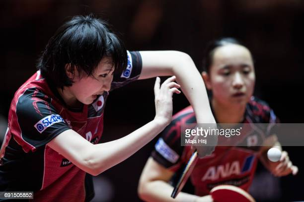Hina Hayata of Japan and Mima Ito of Japan compete during Women's Doubles at Table Tennis World Championship at Messe Duesseldorf on June 2 2017 in...
