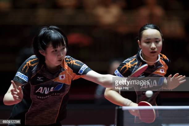 Hina Hayata of Japan and Mima Ito of Japan in action during Women's Doubles Semifinals at Table Tennis World Championship at Messe Duesseldorf on...