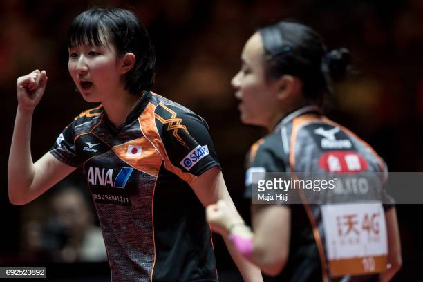 Hina Hayata of Japan and Mima Ito of Japan react during Women's Doubles Semifinals at Table Tennis World Championship at Messe Duesseldorf on June 5...