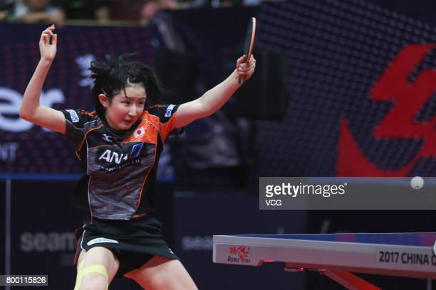 Hina Hayata of Japan competes during the women's singles second round match against Liu Shiwen of China on the day two of the 2017 ITTF World Tour...