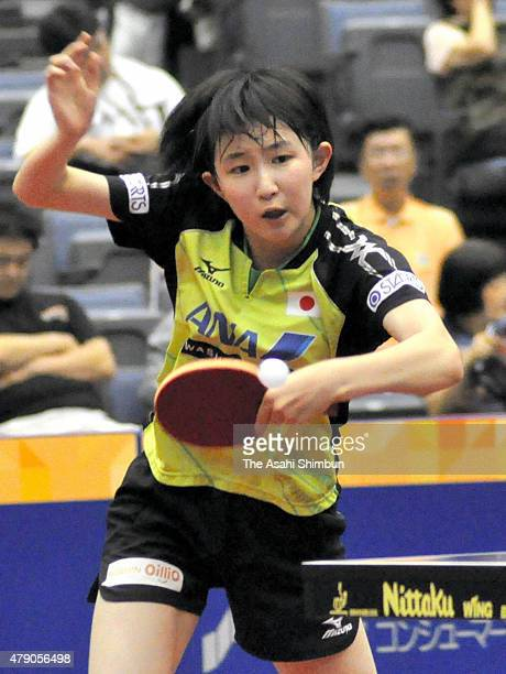 Hina Hayata of Japan competes in the Women's Doubles Qualifing first round during day one of the ITTF World Tour Super Series Japan Open at Green...