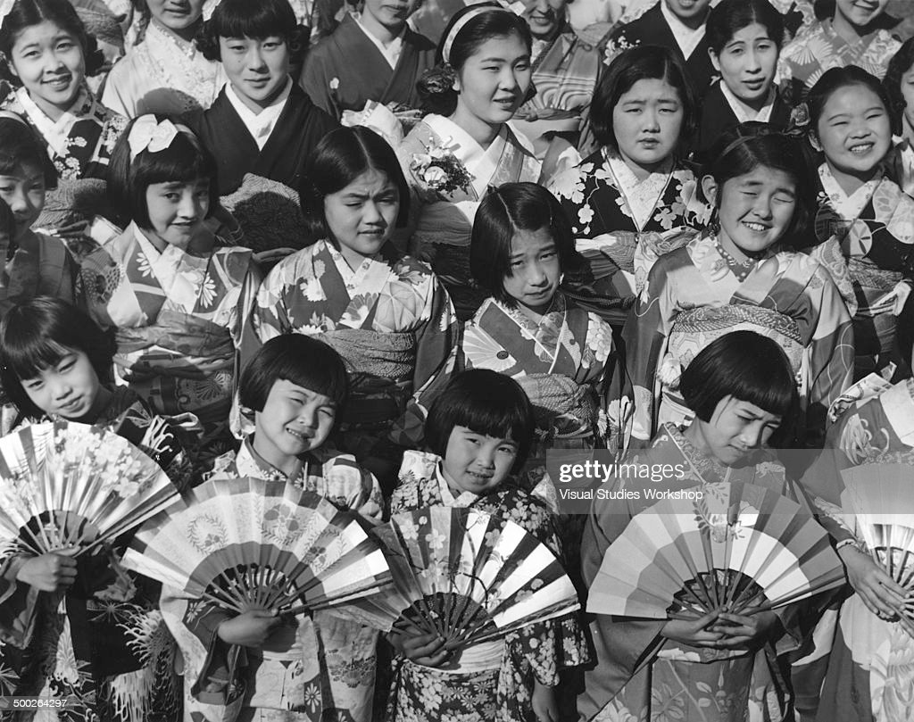 Hina Matsuri, or Girl Doll Day, Festival being celebrated by the largest Japanese colony in America, half of whom are American-born, Los Angeles, California, early to mid 20th century.