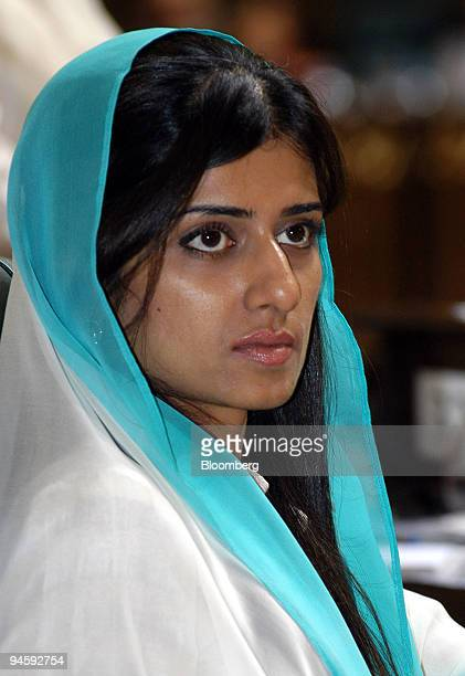 Hina Rabbani Khar Pakistan State Economic Minister listens during the concluding session of the 2nd World Islamic Economic Forum WIEF in Islamabad...