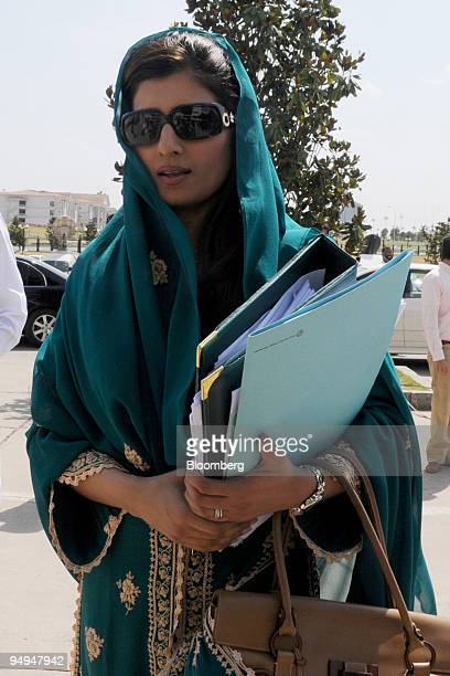 Hina Rabbani Khar Pakistan's junior economics minister arrives at Parliament House for the release of the federal budget in Islamabad Pakistan on...