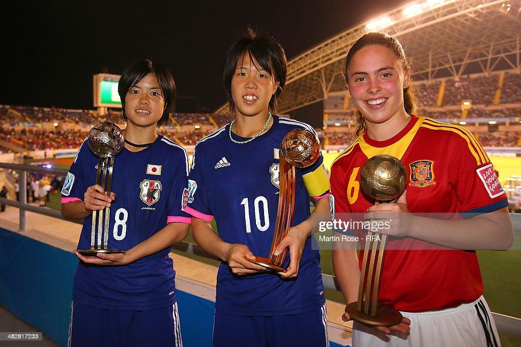 Hina Sugita of Japan (C), adidas Golden Ball, Yui Hasegawa of Japan (L), adidas Silver Ball and Pilar Garrote (R) of Spain, adidas Bronze Ball pose after the FIFA U-17 Women's World Cup 2014 final match between Japan and Spain at Estadio Nacional on April 4, 2014 in San Jose, Costa Rica.
