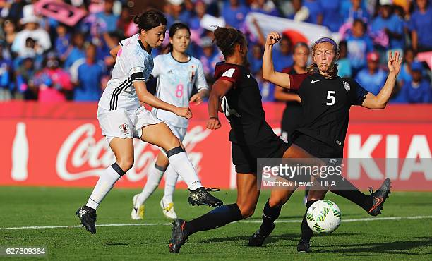 Hina Sugita of Japan has a shot on goal during the FIFA U20 Women's World Cup Papua New Guinea 2016 Third Place Play Off match between USA and Japan...