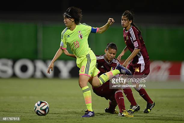 Hina Sugita of Japan in action during the FIFA U17 Women's World Cup Semi Final match between Venezuela and Japan at Edgardo Baltodano Briceno on...