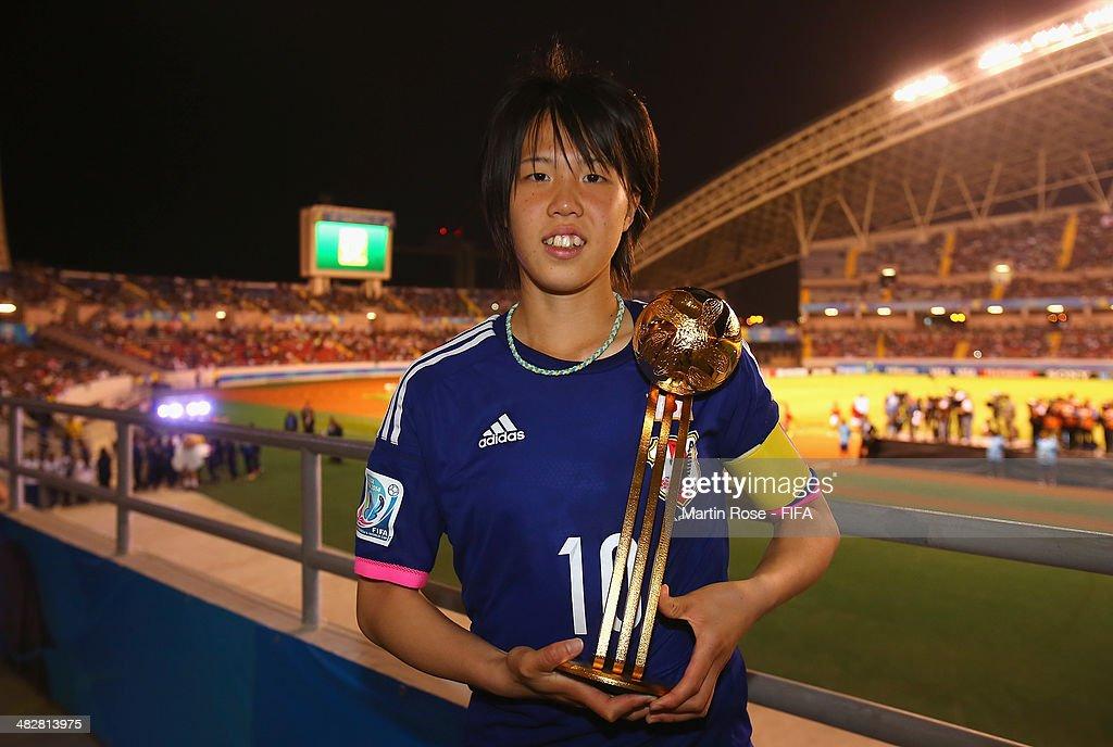 Hina Sugita of Japan wins the adidas Golden Ball during the FIFA U-17 Women's World Cup 2014 final match between Japan and Spain at Estadio Nacional on April 4, 2014 in San Jose, Costa Rica.