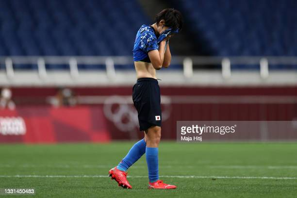 Hina Sugita of Team Japan looks dejected following defeat in the Women's Quarter Final match between Sweden and Japan on day seven of the Tokyo 2020...