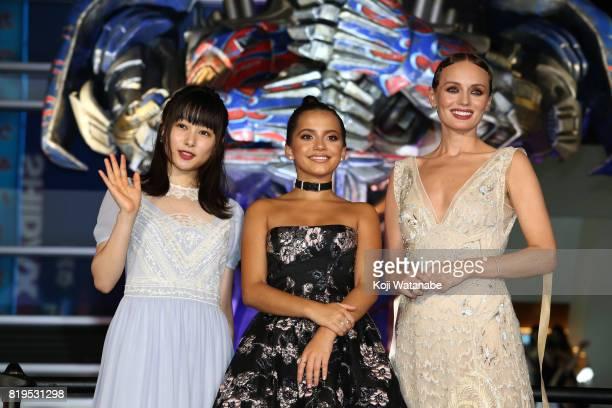 "Hinako Sakurai, Isabela Moner and Laura Haddock attend the Japanese premiere of ""Transformers: The Last Knight"" at TOHO Cinemas Shinjuku on July 20,..."