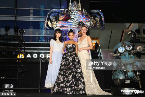 Hinako Sakurai Isabela Moner and Laura Haddock attend the Japanese premiere of 'Transformers The Last Knight' at TOHO Cinemas Shinjuku on July 20...