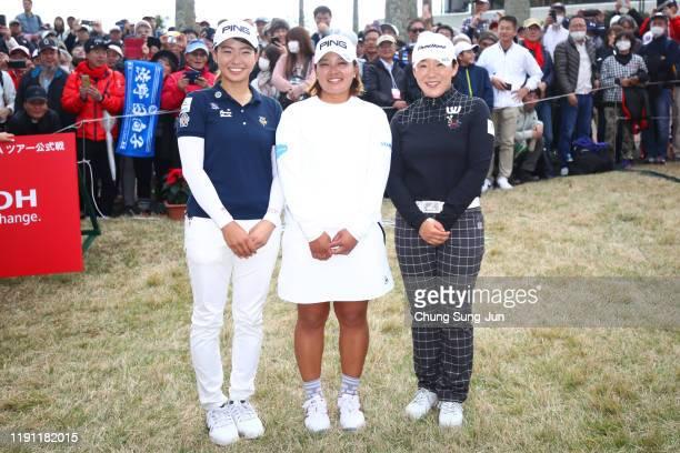 Hinako Shibuno of Japan Ai Suzuki of Japan and Jiyai Shin of South Korea pose for photographs after the final round of the LPGA Tour Championship...