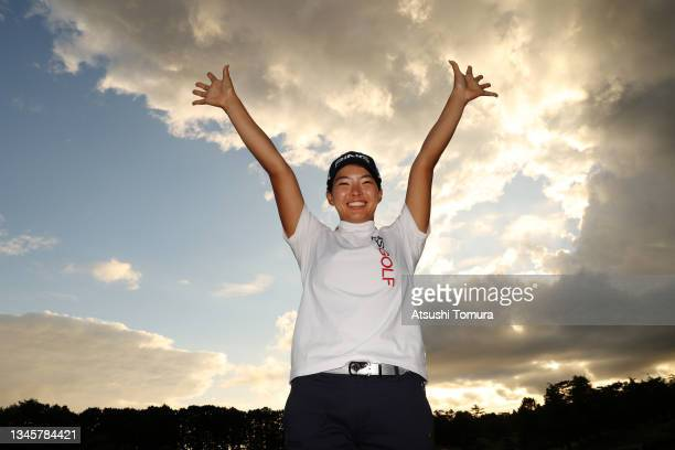 Hinako Shibuno of Japan celebrates after winning the tournament following the final round of the Stanley Ladies at Tomei Country Club on October 10,...