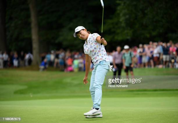 Hinako Shibuno of Japan celebrates her winning putt during the final round of the AIG Women's British Open at Woburn Golf Club on August 04 2019 in...