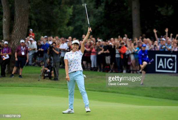 Hinako Shibuno of Japan celebrates holing the winning putt for a birdie on the 18th hole to secure her one shot victory in the final round of the AIG...