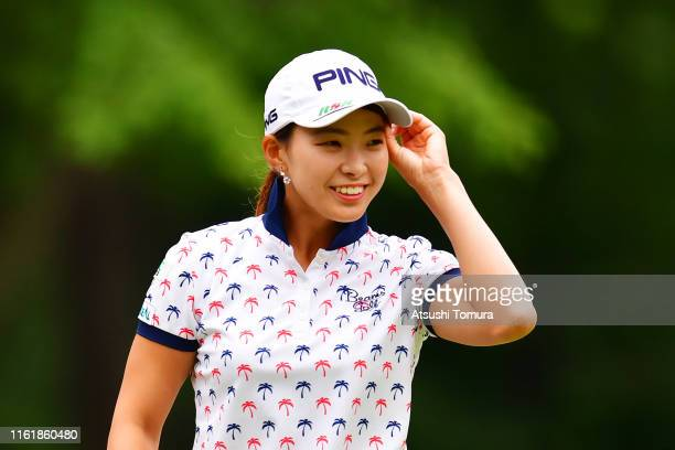 Hinako Shibuno of Japan celebrates the birdie on the 1st green during the final round of the Nippon Ham Ladies Classic at Katsura Golf Club on July...