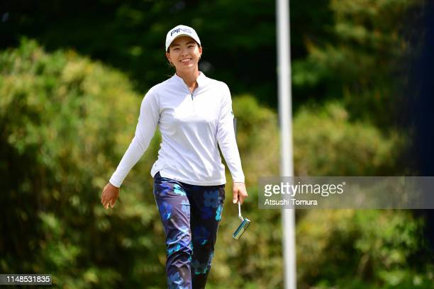 Hinako Shibuno of Japan celebrates the birdie on the 5th green during the final round of the World Ladies Championship Salonpas Cup at Ibaraki Golf...