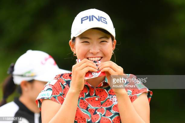 Hinako Shibuno of Japan has a bite on the 6th hole during the first round of the Earth Mondamin Cup at the Camellia Hills Country Club on June 27...