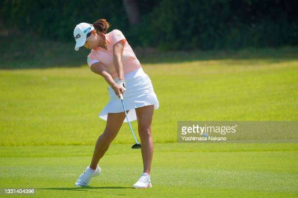 Hinako Shibuno of Japan hits her second shot on the 4th hole during the second round of Rakuten Super Ladies at Tokyu Grand Oak Golf Club on July 30,...
