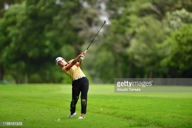 Hinako Shibuno of Japan hits her second shot on the 8th hole during the final round of the Earth Mondamin Cup at the Camellia Hills Country Club on...