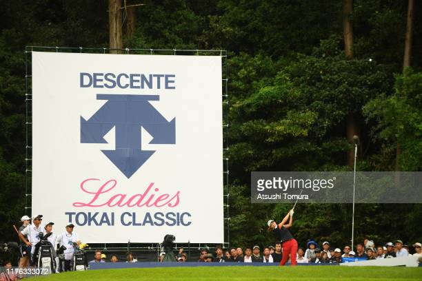 Hinako Shibuno of Japan hits her tee shot on the 18th hole during the final round of the Descente Ladies Tokai Classic at Shin Minami Aichi Country...