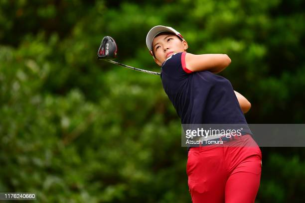 Hinako Shibuno of Japan hits her tee shot on the 5th hole during the final round of the Descente Ladies Tokai Classic at Shin Minami Aichi Country...