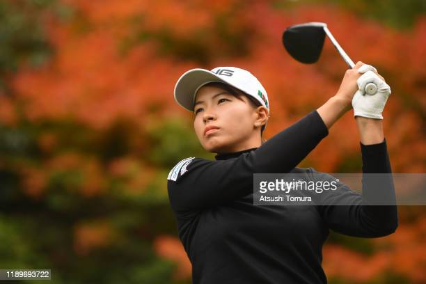 Hinako Shibuno of Japan hits her tee shot on the 5th hole during the final round of the Daio Paper Elleair Ladies at Elleair Golf Club Matsuyama on...