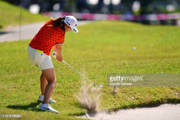 Hinako Shibuno of Japan hits out from a bunker during the second round of the Chukyo TV Bridgestone Ladies Open at Chukyo Golf Club Ishino Course on...