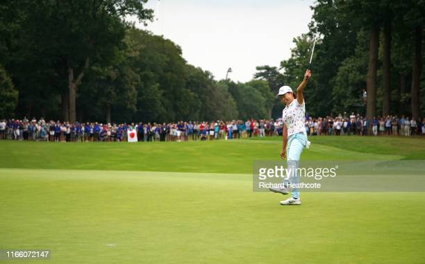 Hinako Shibuno of Japan holes the winning putt on the 18th green during Day Four of the AIG Women's British Open at Woburn Golf Club on August 04...