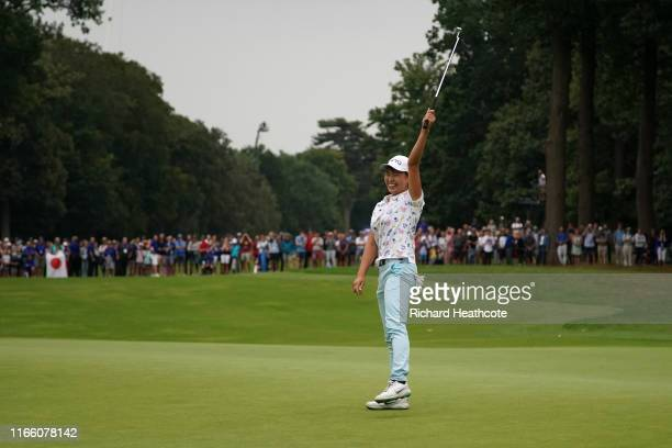 Hinako Shibuno of Japan holes the winning putt on the 18th green during the final round of the AIG Women's British Open at Woburn Golf Club on August...