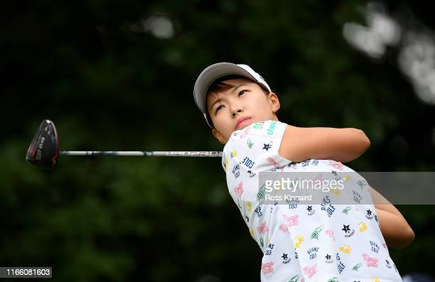 Hinako Shibuno of Japan in action during the final round of the AIG Women's British Open at Woburn Golf Club on August 04 2019 in Woburn England