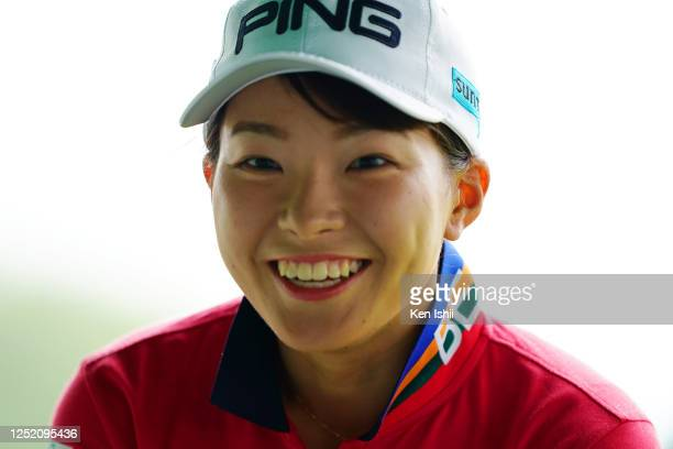Hinako Shibuno of Japan is seen on the 1st tee during the first round of the Earth Mondamin Cup at the Camellia Hills Country Club on June 25 2020 in...