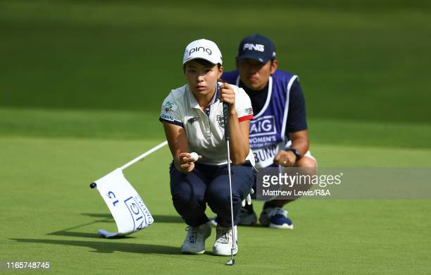 Hinako Shibuno of Japan lines up a putt on the 11th green during Day Two o the AIG Women's British Open at Woburn Golf Club on August 02 2019 in...
