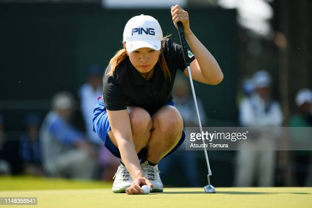 Hinako Shibuno of Japan lines up for the birdie putt on the 9th green during the third round of the World Ladies Championship Salonpas Cup at Ibaraki...