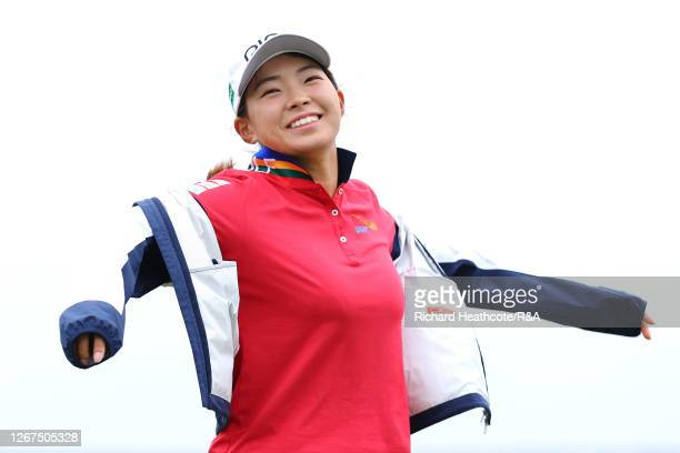 Hinako Shibuno of Japan looks on after finishing on the 18th during day two of the 2020 AIG Women's Open at Royal Troon on August 21 2020 in Troon...
