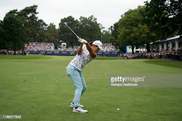 Hinako Shibuno of Japan plays her second shot on the 18th hole during the final round of the AIG Women's British Open at Woburn Golf Club on August...