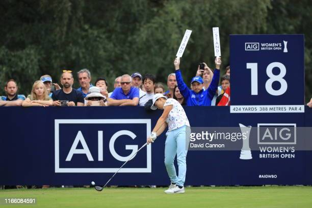Hinako Shibuno of Japan plays her tee shot on the par 4, 18th hole during the final round of the AIG Women's British Open on the Marquess Course at...