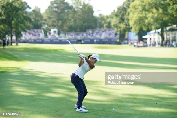 Hinako Shibuno of Japan plays into the 18th green during the second round of the AIG Women's British Open at Woburn Golf Club on August 02 2019 in...