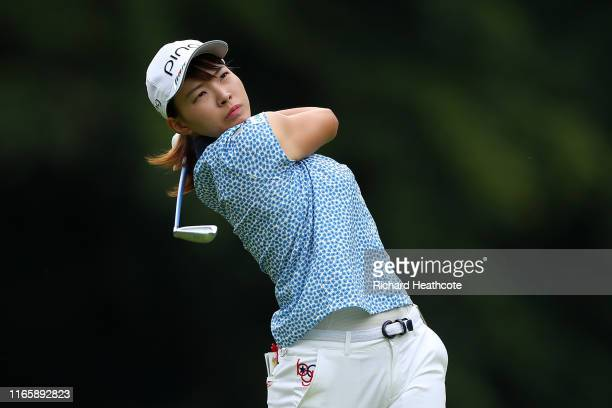 Hinako Shibuno of Japan plays into the 3rd green during the third round of the AIG Women's British Open at Woburn Golf Club on August 03 2019 in...