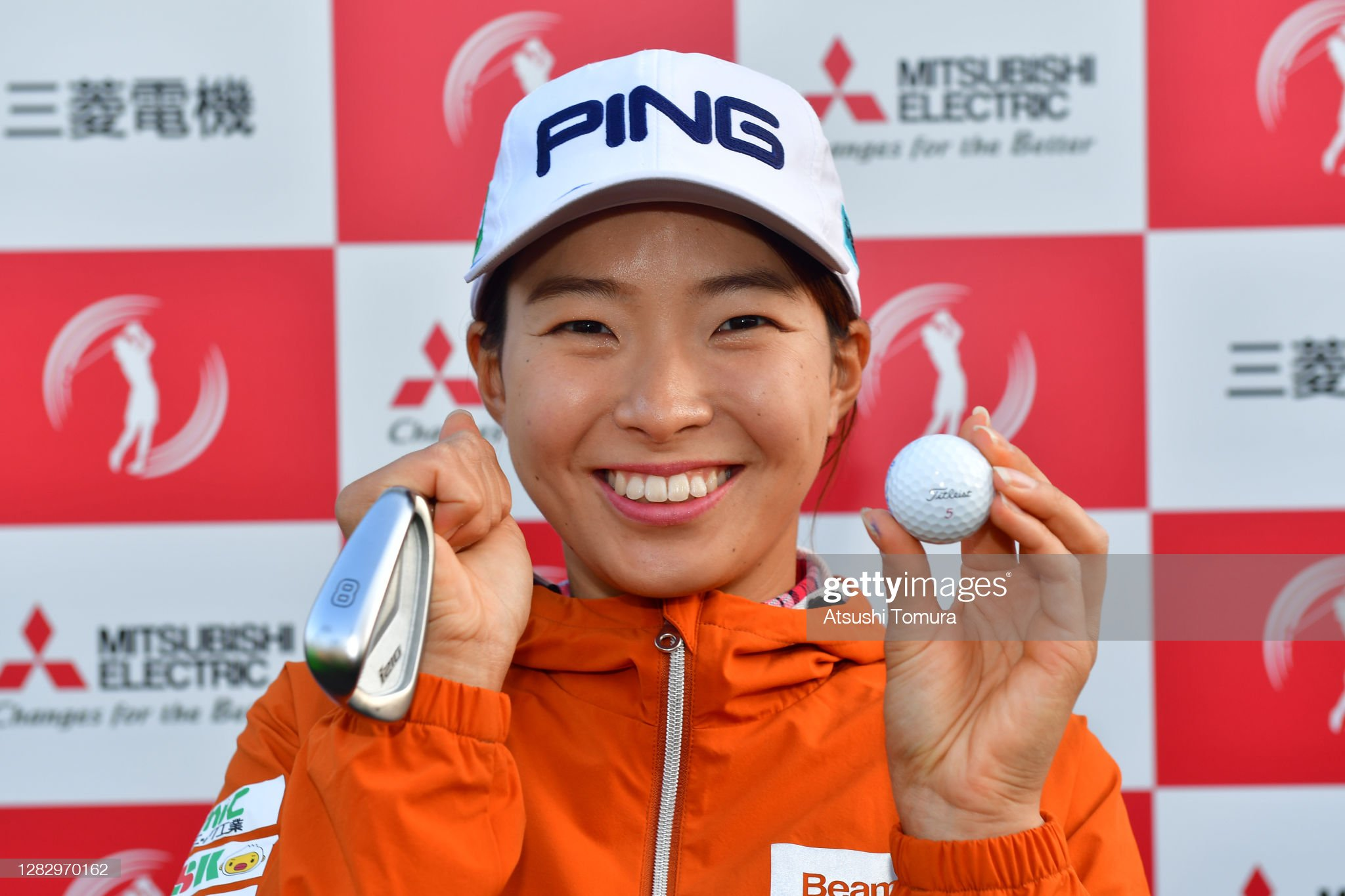 https://media.gettyimages.com/photos/hinako-shibuno-of-japan-poses-as-she-made-a-holeinone-after-the-first-picture-id1282970162?s=2048x2048