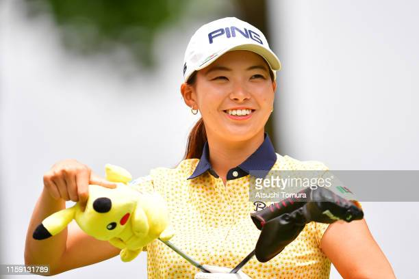 Hinako Shibuno of Japan prepares for her tee shot on the 9th hole during the final round of the Earth Mondamin Cup at the Camellia Hills Country Club...