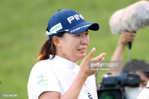 Hinako Shibuno of Japan sheds tears with joy after winning the tournament through the playoff following the final round of the Stanley Ladies at...