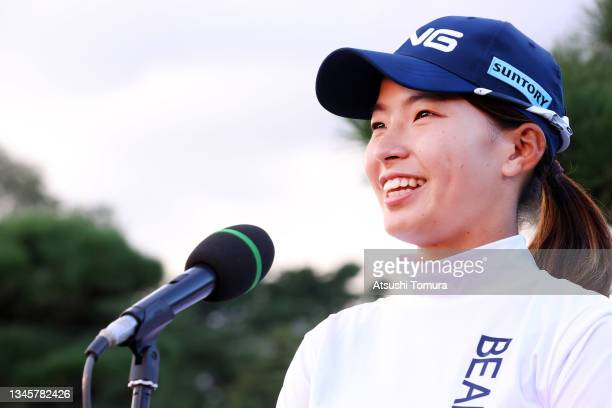 Hinako Shibuno of Japan shows emotion while being interviewed after winning the tournament following the final round of the Stanley Ladies at Tomei...
