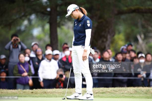 Hinako Shibuno of Japan shows her dejection after a putt on the 8th green during the final round of the LPGA Tour Championship Ricoh Cup at Miyazaki...
