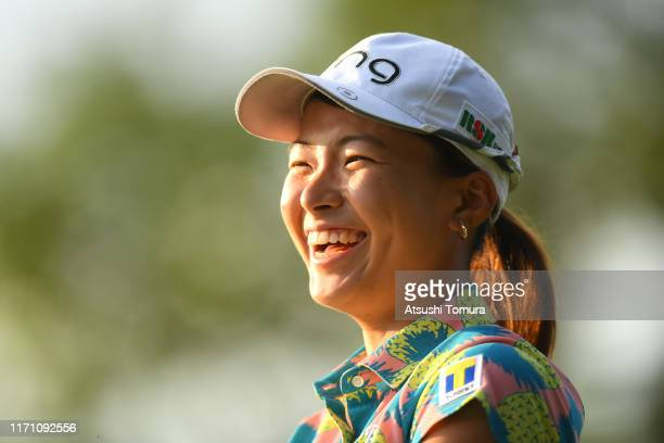 Hinako Shibuno of Japan smiles after holing out on the 18th green during the second round of the Nitori Ladies at Otaru Country Club on August 30...