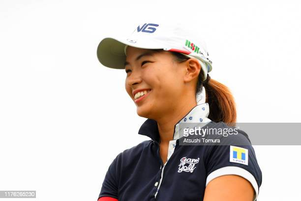 Hinako Shibuno of Japan smiles after holing out on the 18th green during the final round of the Descente Ladies Tokai Classic at Shin Minami Aichi...