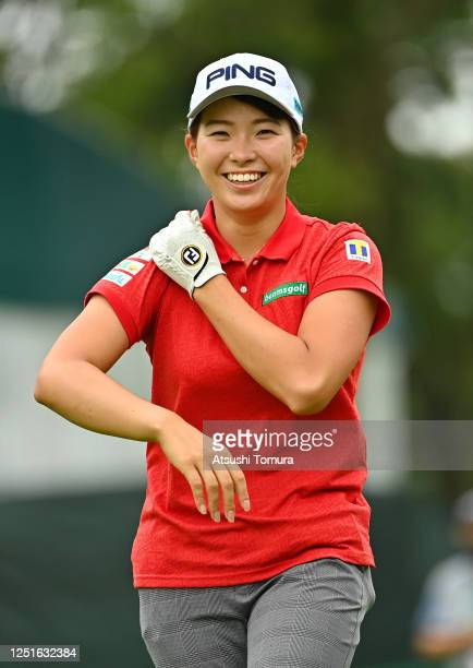 Hinako Shibuno of Japan smiles on the 16th hole during the practice round ahead of the Earth Mondamin Cup at the Camellia Hills Country Club on June...