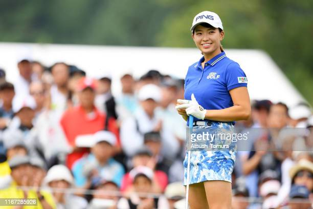 Hinako Shibuno of Japan smiles on the 1st tee during the final round of the Hokkaido meiji Cup at Sapporo International Country Club on August 11...