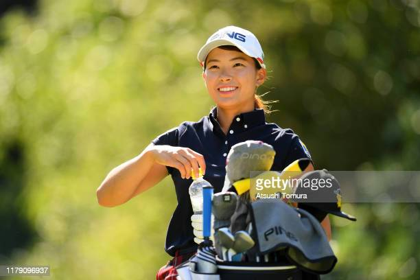 Hinako Shibuno of Japan smiles on the 2nd tee during the third round of the Japan Women's Open Championship at Cocopa Resort Club Hakusan Village...